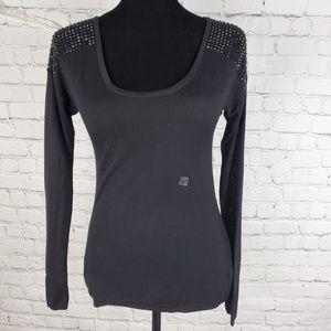 Express Beaded Shoulder Sweater Black